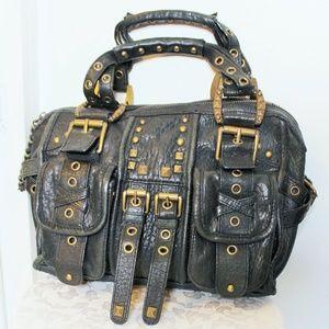 Betsey Johnson Black Studded Satchel Handbag